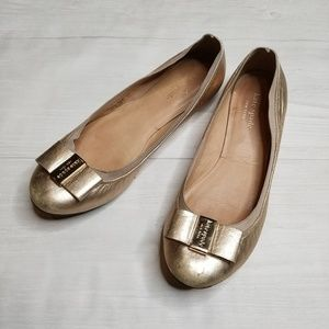 Kate Spade Rose Gold Bow Flats size 8.5